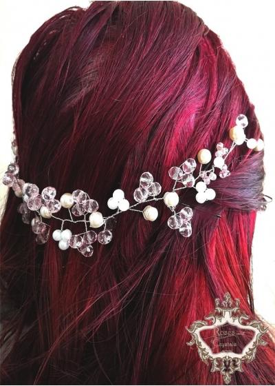 Дълга украса за коса за сватба и бал в бяло и розово Rose Kiss by Rosie