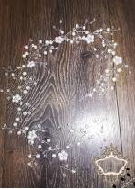 Украса за булчинска прическа с перли и кристали White Flowers 70 см