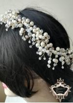 Украса за булчинска прическа с перли и кристали Ivory Glam -20 см