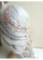 Дълга украса за официална прическа с кристали Сваровски в розово и розово злато Rose Golden Blush by Rosie