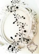 Украса за коса с черни кристали Delicate Black by Rosie