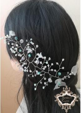Украса за коса в цвят Тифани и бяло Lilly by Rosie