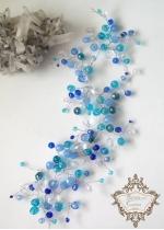 Украса за официална прическа от кристали в синьо и тюркоаз Sea Magic