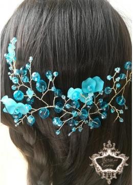 Къса дизайнерска кристална украса за коса Turquoise Charm by Rosie