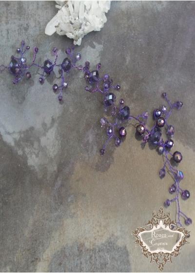 Украса за официална прическа с лилави Кристали Violet Touch