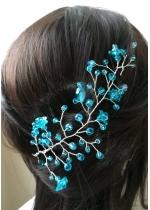 Украса за коса с кристали в цвят тюркоаз от серия Blue Bell by Rosie