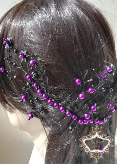 Дизайнерска украса за коса в черно и лилаво Magic in Purple by Rosie