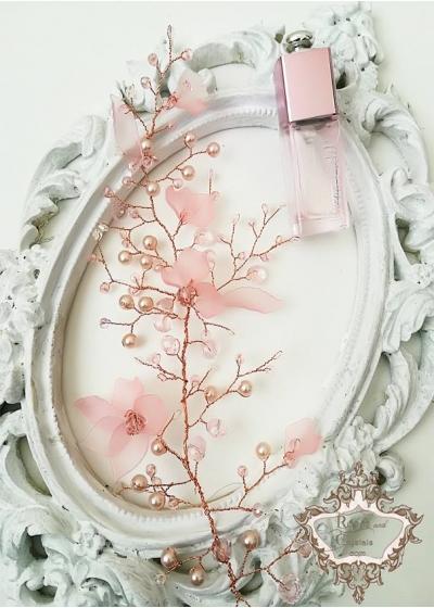 Нежна дизайнерска украса за коса в розово Magnolia by Rosie