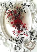 Кристална украса за коса в червено и черно Passion by Rosie