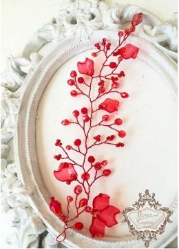 Нежна дизайнерска кристална украса за коса с кристали Сваровски в червено Red Poppy by Rosie