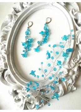 Комплект украса за прическа и обици от кристали цвят тюркоаз серия Blue Bell by Rosie