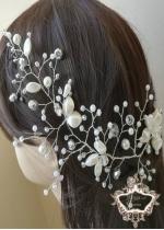 Дизайнерска украса за сватбена прическа White Orchid by Rosie