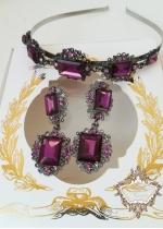 Дизайнерски комплект Кристална диадема и обици Violet Rose