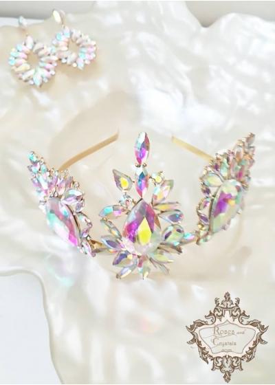 Кристална корона за сватба и бал Absolute Light -Сваровски кристали by Rosie Concept