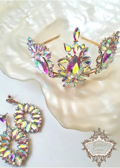 Комплект луксозна тиара за коса и обици от сваровски кристали Absolute Light by Rosie Concept