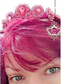 Луксозна кристална корона за коса Rose Topaz -розови кристали