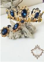 Комплект Уникална дизайнерска корона и обици в луксозна кутия Hermitage Gold Sapphire by Rosie Design