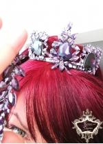 Kомплект уникална кристална корона в лилаво и обици Absolute Amethyst Rose