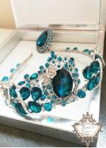 Корона и обици в тъмен тюркоаз - Dark Turquoise Rose by Rosie Concept