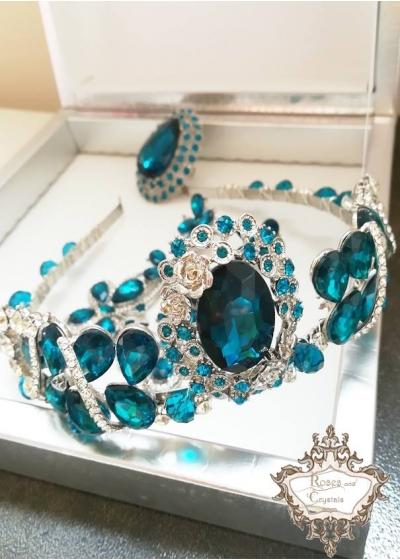 Корона и пръстен в тъмен тюркоаз - Dark Turquoise Rose by Rosie Concept