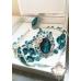 Корона, обици и пръстен в тъмен тюркоаз - Dark Turquoise Rose by Rosie Concept