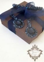 Бутиков комплект Дизайнерска диадема и дълги обици Sapphire Rose by Rosie Design
