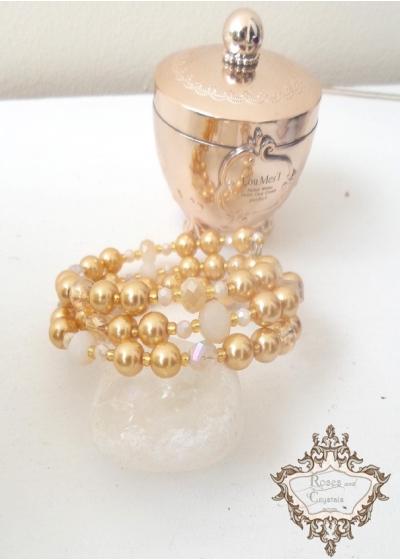 Дизайнерска гривна за сватба и бал в златно с кристали Сваровски и мъниста модел Classy Look Gold