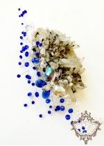 Дизайнерска Гривна от Сваровски кристали в цвят тъмно син сапфир и бяло модел Crystal Butterfly Blue by Rosie