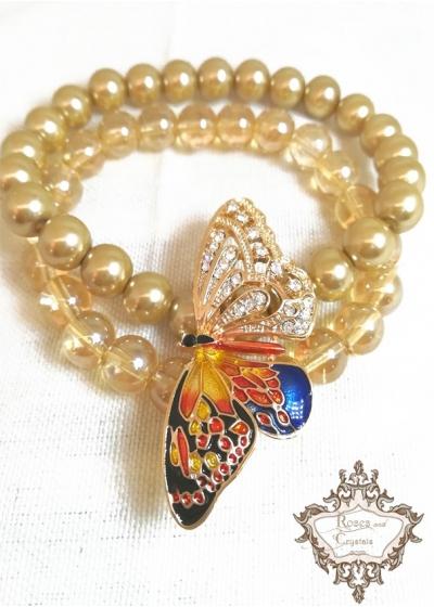 Дизайнерска Гривна от мъниста Прециоза и перли в златист цвят с луксозна пеперуда от серията Nature by Rosie