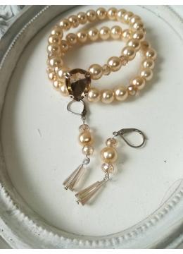 Комплект бижута за булка гривна и обици от перли и кристали модел Elegance цвят екрю