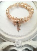 Дизайнерска гривна с перли и кристали Сваровски в цвят розово и праскова Pink Blush by Rosie