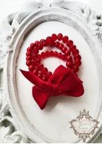 Официална гривна с перли и кристали в червено Red Passion