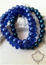 Официални гривни от стъклени перли и кристали Сваровски в тъмно синьо