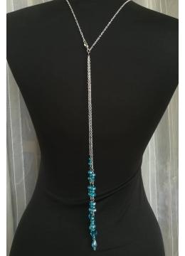 Колие за гръб с тюркоазени кристали Сваровски Turquoise Rose by Rosie