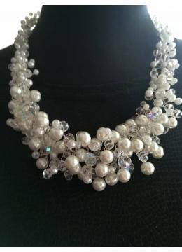 Колие за булка от перли и кристали Сваровски модел White Crystal Magic by Rosie Concept