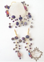 Ефектна кристална гривна и обици в златно с лилави кристали Amethyst Rose