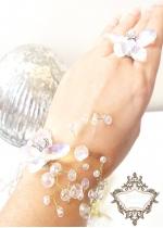 Нежен комплект с пеперуди от Сваровски кристали пръстен и гривна Crystal Butterfly Gold By Rosie
