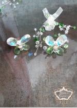 Гривна и пръстен с пеперуди от кристали Сваровски Green Butterfly