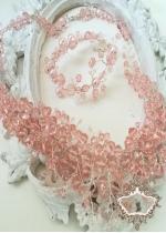 Комплект официално колие и гривна от розови кристали Rose Crystal Garden