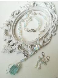 Елегантен комплект бижута от аквамарин, лунен камък и кристали Сваровски Sea Dream