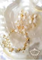 Красиви дизайнерски булчински обици и гривна Gardenia Gold by Rosie