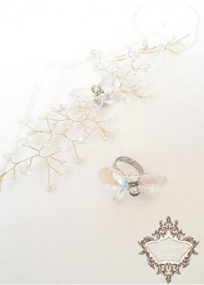 Нежен комплект Украса за булчинска прическа и пръстен с кристали Сваровски Crystal Butterfly Gold by Rosie