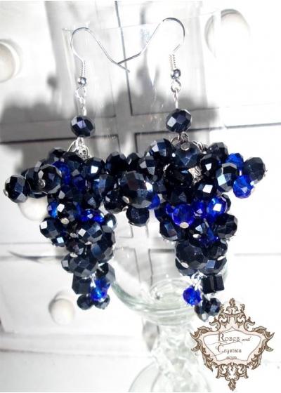 Официални обици от Сваровски кристали Blue Night by Rosie