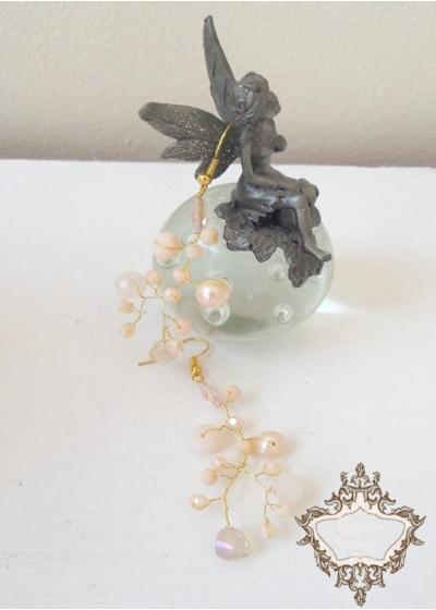 Дизайнерски обици от кристали Сваровски цвят праскова Garden Blush