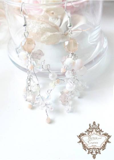 Нежки кристални обици цвят пудра Infinity Blush