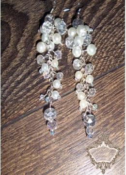 Дълги булчински обици от перли и кристали в слонова кост Ivory Flowers by Rosie