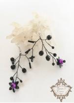 Уникални официални обици в тъмно лилаво и черно серия Magic in Purple by Rosie