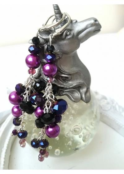 Кристални висящи обици в тъмно лилаво и черно модел Purple Dreams by Rosie