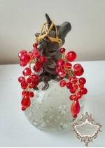Официални кристални обици в червено и златно модел Red Fashion by Rosie