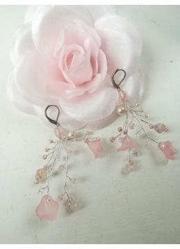 Нежни обици с кристали Сваровски в розово и бяло Rose Magic Garden by Rosie
